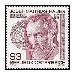1 عدد تمبر جوزف ماتیاس هاوئر - آهنگساز و تئوریسین موزیک - اتریش 1983