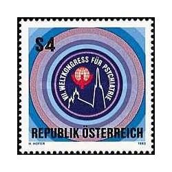 1 عدد تمبر هفتمبن کنگره جهانی روانپزشکی - اتریش 1983