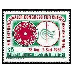1 عدد تمبر سیزدهمین کنگره بین المللی شیمی درمانی وین - اتریش 1983