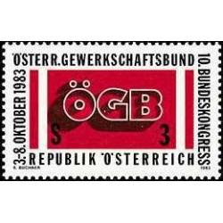 1 عدد تمبر دهمین کنگره فدرالی اتحادیه های کارگری اتریش - اتریش 1983