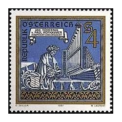 1 عدد تمبر پائول هوف هایمر - نوازنده ارگ و آهنگساز - اتریش 1987