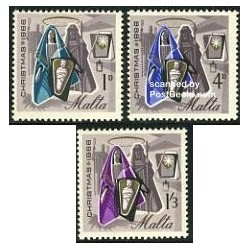 3 عدد تمبر کریستمس - مالت 1966