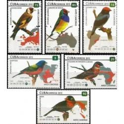 6 عدد تمبر پرندگان آواز خوان - کوبا 2015
