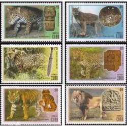 6 عدد تمبر گربه سانان بزرگ - کوبا 2015
