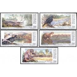 5 عدد تمبر پارکهای ملی - حیوانات  - آرژانتین 1987