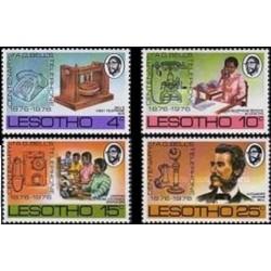 4 عدد تمبر صدمین سال اختراع تلفن - لسوتو 1976