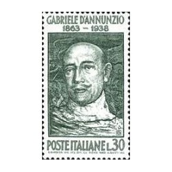 1 عدد تمبر گابریل آنونزیو - مجری تلویزیون - ایتالیا 1963