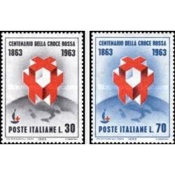 2 عدد تمبر صدمین سال تاسیس صلیب سرخ بین المللی - ایتالیا 1963