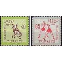 2 عدد تمبر المپیک ملبورن - ترکیه 1956