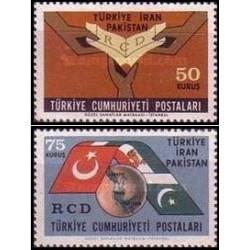 2 عدد تمبر اولین سالگرد پیمان همکاری عمران منطقه ای - ایران ، پاکستان و ترکیه - ترکیه 1965