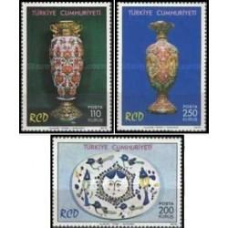 3 عدد تمبر هفتمین سالگرد همکاری عمران منطقه ای - RCD - ایران ، پاکستان و ترکیه - ترکیه 1975