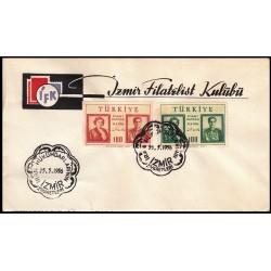 پاکت مهر روز بازدید محمدرضا پهلوی و ثریا از  ترکیه - با مهر ازمیر - ترکیه 1956