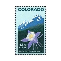 1 عدد تمبر صدمین سال تاسیس ایالت کلرادو - آمریکا 1977