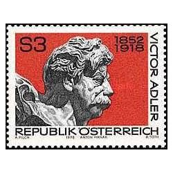 1 عدد تمبر یادبود ویکتور آدلر - وزیر خارجه - اتریش 1978