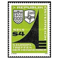 1 عدد تمبر پنجمین دوره جمع آوری زندانیان اروپائی جنگ که به ولز بازگشتند - اتریش 1979