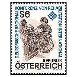 1 عدد تمبر سومین کنفرانس منطقه ای اروپا - توانبخشی بین المللی- اتریش 1981