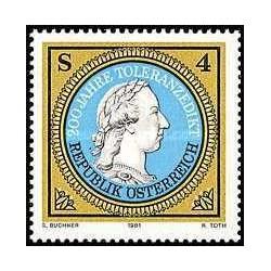 1 عدد تمبر دویستمین سال فرمان بردباری - اتریش 1981