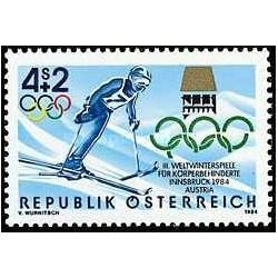 1 عدد تمبر بازیهای پارالیمپیک زمستانی - اینزبروک - اتریش 1984