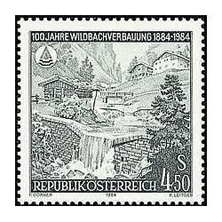1 عدد تمبر صدمین سال اقدامات کنترل سیل - اتریش 1984