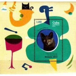 سونیرشیت گربه ها - نمایشگاه جهانی تمبر مالزی - کوبا 2014