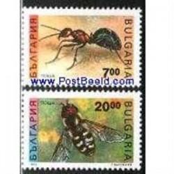 2 ع تمبر حشرات - موچه و زنبور - بلغارستان 1992