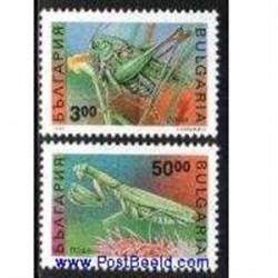 2 عدد تمبر حشرات - آخوندک و ملخ - بلغارستان 1992