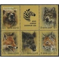 5 عدد تمبر حیوانات  با تب - شوروی 1988