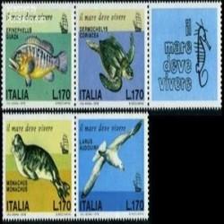 4 عدد تمبر گونه های در حال انقراض باتب - ایتالیا 1978