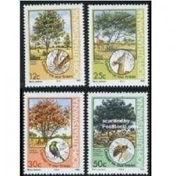 4 عدد تمبر درختان و حیوانات - بوتسوانا - آفریقای جنوبی  1985