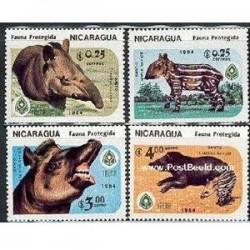 4عدد تمبر حیوانات در معرض خطر - نیکاراگوئه 1984