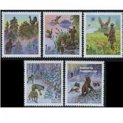 5 عدد تمبر شکار - روسیه 1999