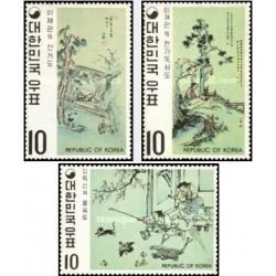 3 عدد تمبر نقاشیهای سلسله Yi - کره جنوبی 1971