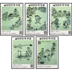 5 عدد تمبر نقاشیهای سلسله Yi - کره جنوبی 1971