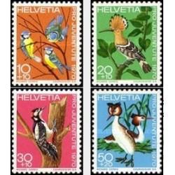 4 عدد تمبر پرندگان - سوئیس 1970