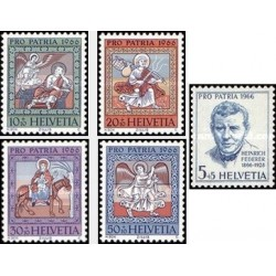 5 عدد تمبر پروپارتیا - نقاشی - صدمین سال تولد هنریش فدرر - سوئیس 1966