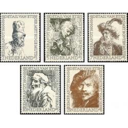 5 عدد تمبر تابلو نقاشی اثر رامبرانت - هلند 1956