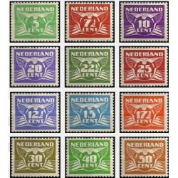12 عدد تمبر سری پستی - عددی - هلند 1941