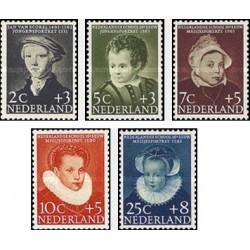 5 عدد تمبر مراقبت از کودکان - نقاشی پرتره - هلند 1956