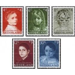 5 عدد تمبر مراقبت از کودکان - نقاشی پرتره - هلند 1957