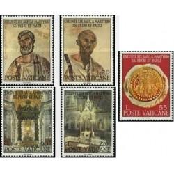 5 عدد تمبر شهادت پیتر و پائول - مبلغ مذهبی - واتیکان 1967