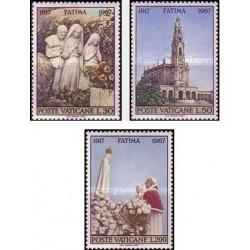 3 عدد تمبر پنجاهمین سالگرد مکاشفه مریم باکره در فاتیما - واتیکان 1967