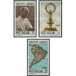 3 عدد تمبر تهمین کنگره بین المللی بوگوتا - واتیکان 1968