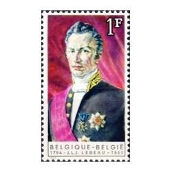 1 عدد تمبر یادبود جوزف لبیو - نخست وزیر - نقاشی پرتره  - بلژیک 1965