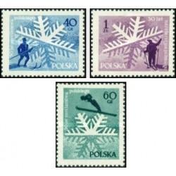 3 عدد تمبر مسابقات قهرمانی اسکی - لهستان 1957