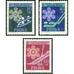 3 عدد تمبر ورزشهای زمستانی برای دانشجویان - لهستان 1956