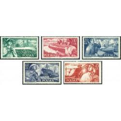5 عدد تمبر ورزشهای کشتیهای لهستانی - لهستان 1956
