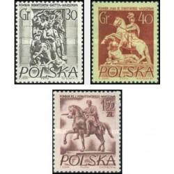 3 عدد تمبر آثار تاریخی ورشو - لهستان 1956