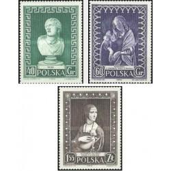 3 عدد تمبر هفته جهانی موزه - تابلو ، مجسمه - لهستان 1956