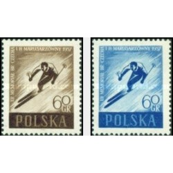 2 عدد تمبر اسکی - لهستان 1957