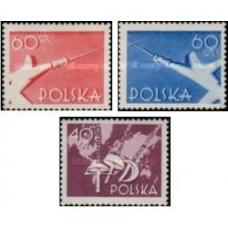 3 عدد تمبر  مسابقات شمشیربازی جوانان در ورشو - لهستان 1957